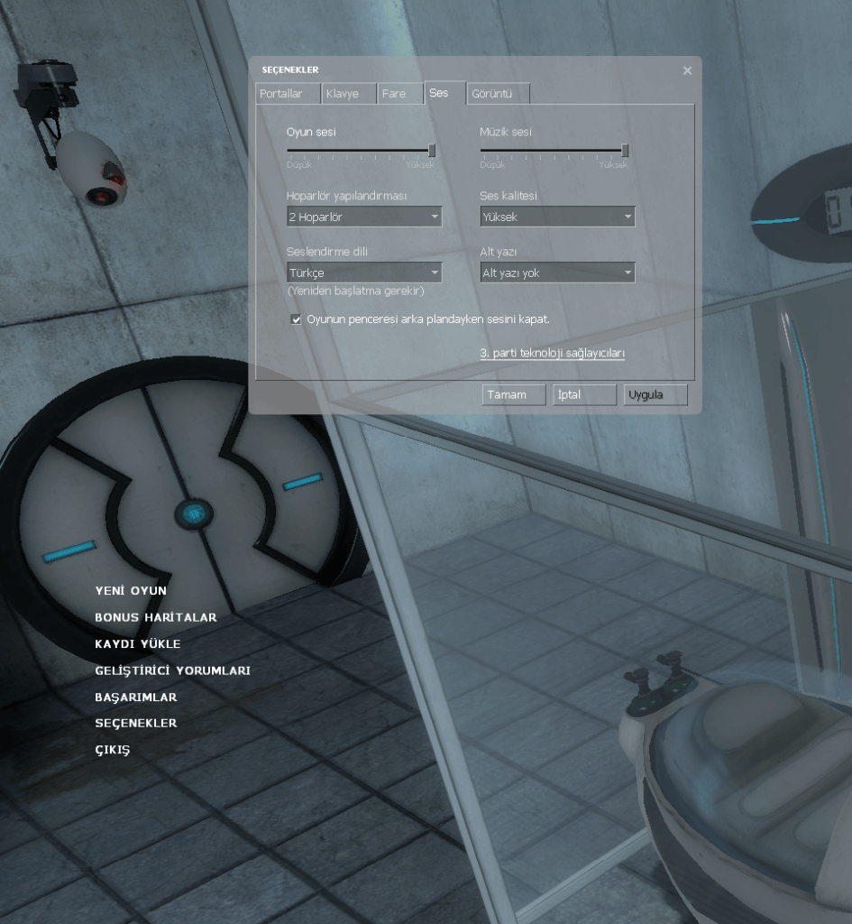 Available Turkish Interface in Portal Game