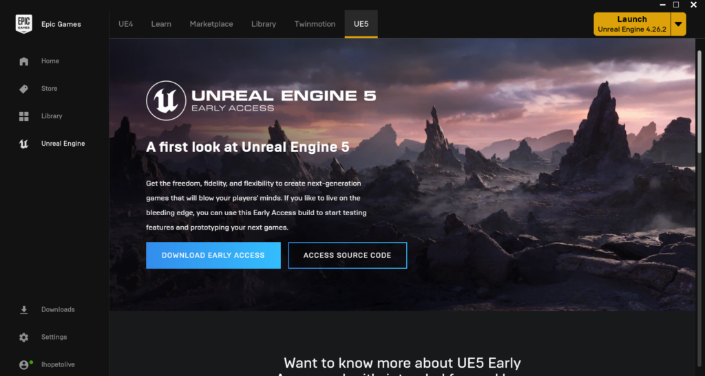 ue5 tab of epic games launcher