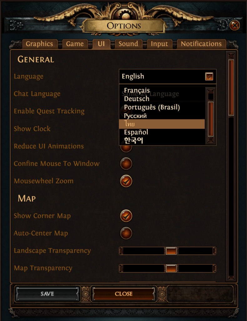 Shot of language options taken in-game. Used in the post of Path of Exile Game Review.
