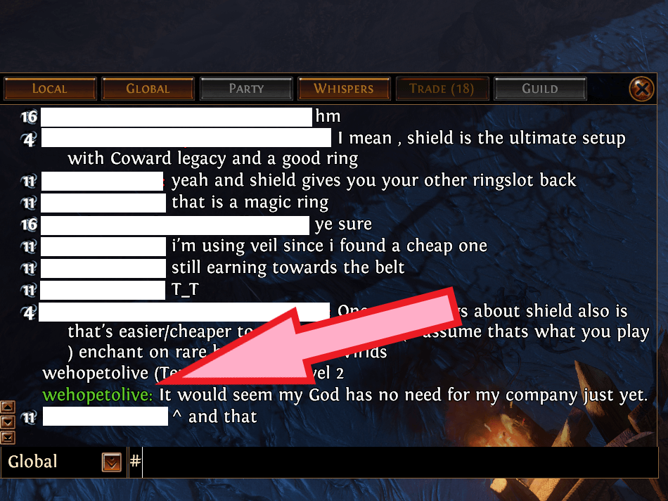 Shot of chat taken in-game. Used in the post of Path of Exile Game Review.